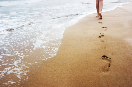 Walking on the sand